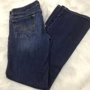 AE American Eagle Jeans SZ 12 Long Solid Blue